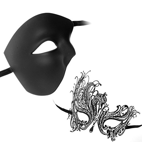 [Roman Phantom of Opera Masquerade Half Face Series Couple Masks (Black8)] (Couple Masquerade Masks)