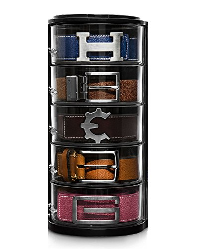 Elypro Belt Organizer - Acrylic Organizer & Display for Belts, Watch Case, Jewelry, Cosmetics, Make up Organizer, Bow Ties, Bracelets, Crafts, Toys etc. Perfect Closet Organizer and Gift item. ()