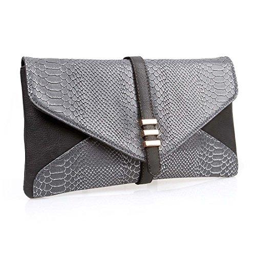 BMC Womens Slate Gray on Black Two-Toned PU Faux Leather Snakeskin Animal Pattern Envelope Flap Clutch Fashion Handbag