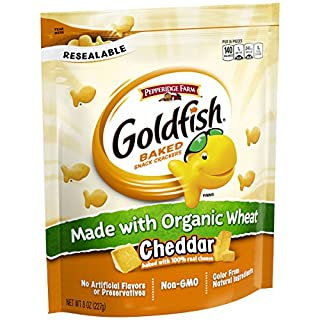 Pepperidge Farm Goldfish Made with Organic Wheat Cheddar Crackers, 8 Ounce Resealable Bag