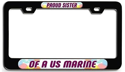 Amazon Com Makoroni Proud Sister Of A Us Marine Black Steel