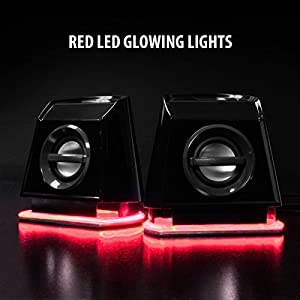 GOgroove 2MX LED Computer Speakers with Passive Subwoofer , Red Glowing Lights and Volume Control - 3.5mm Audio Input Connection , USB Powered for Desktop and Laptop Computers