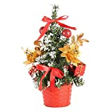 Chenway Gold,Red,Blue,Silver Ornaments-Artificial Tabletop Mini Christmas Tree Bow-Knot Decorations Festival Miniature Tree 20cm (RD)