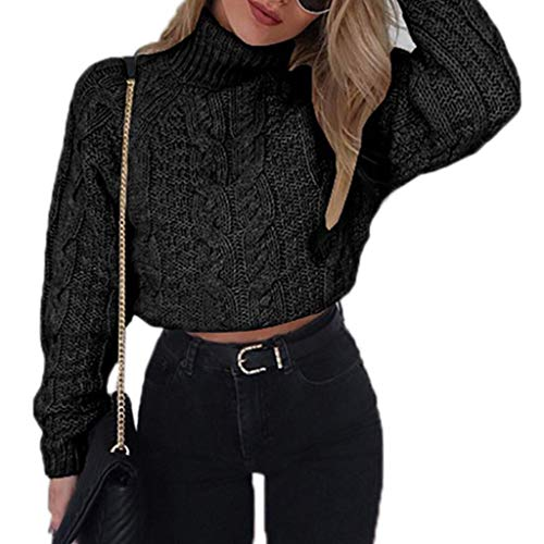 (ballboU- Womens Winte Braided Knitted Sweater Turtleneck Long Sleeve Short Crop Top Retro Pullover)