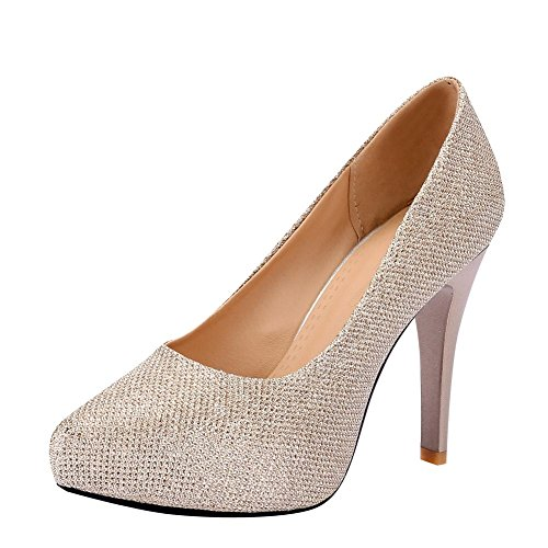 MissSaSa Damen high heel Pointed Toe stiletto Pumps Gold(Synthetik)