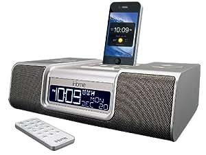 iHome iA9SZC App-Enhanced 30-Pin iPod/iPhone Alarm Clock Speaker Dock (Silver)