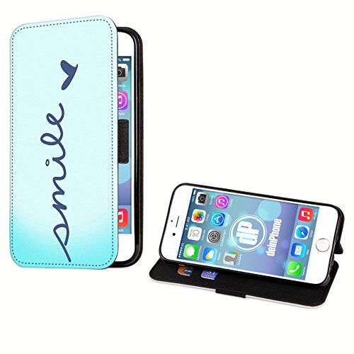 deinphone iPhone 5 5S Étui à rabat en cuir synthétique avec inscription Smile