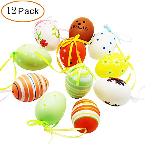 (12 Pack Easter Eggs Ornaments with Hanging Strings, Multicolor painting Easter Eggs for Holiday Gift Home Decorations Decor, Assorted)