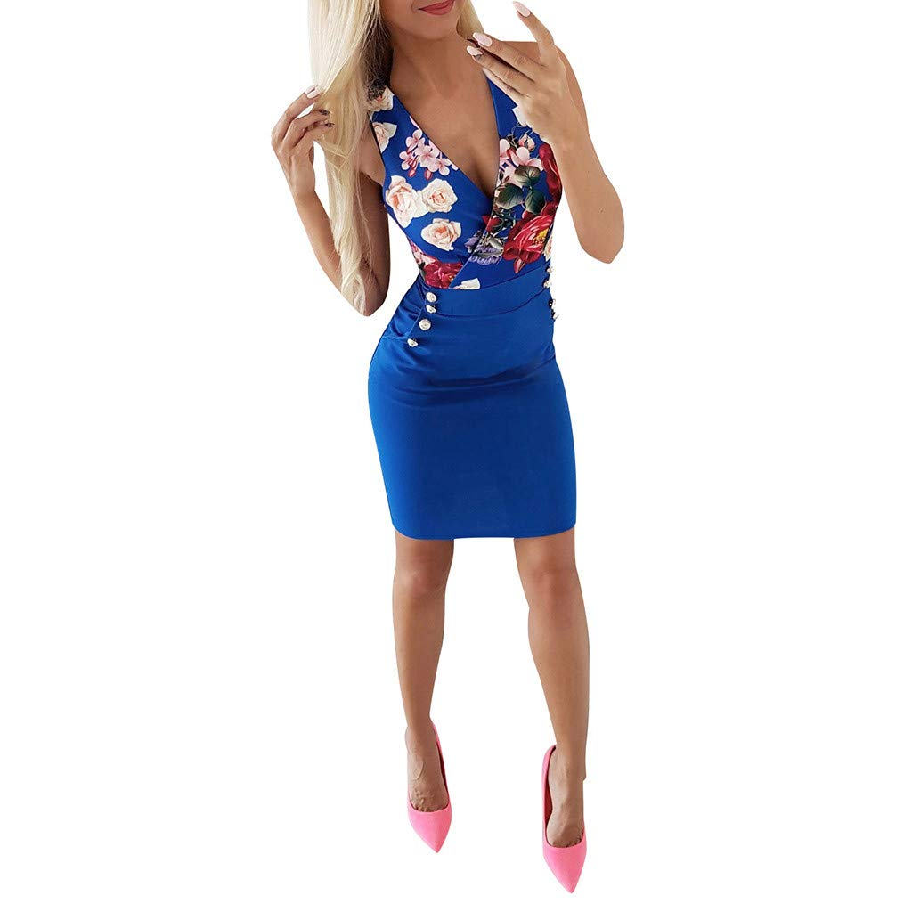 ☆HebeTop Women's Sexy V Neck Floral Printed Sleeveless Short Dress Fashion Ball Dress Blue by HebeTop➟New Arrival