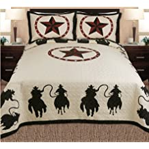 Fancy Collections 3-piece Western Horse Rider Cabin / Lodge Quilt Bedspread Coverlet Beige, Black (Full/queen) by Fancy Linen