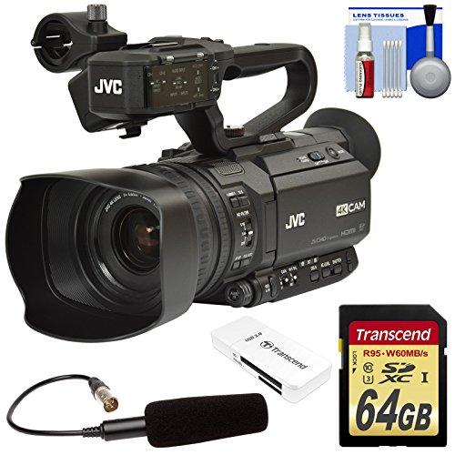 JVC GY-HM180U Ultra 4K HD 4KCAM Professional Camcorder & Top Handle Audio Unit with XLR Microphone + 64GB Card + Reader + Kit