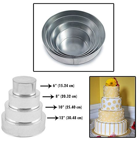 (Set of 4 Tier Round Multilayer Birthday Wedding Anniversary Cake Tins / Pans / Mould by Falcon)