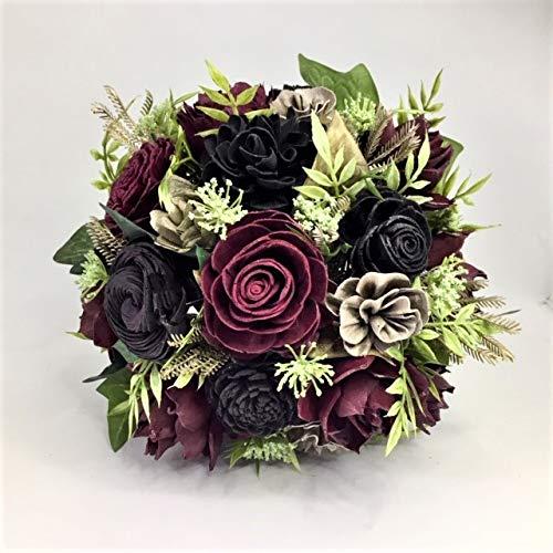 Sola Wood Burgundy and Black Wooden Bouquet Goth Halloween Bride Keepsake Eco Friendly Dahlia Rose Wedding