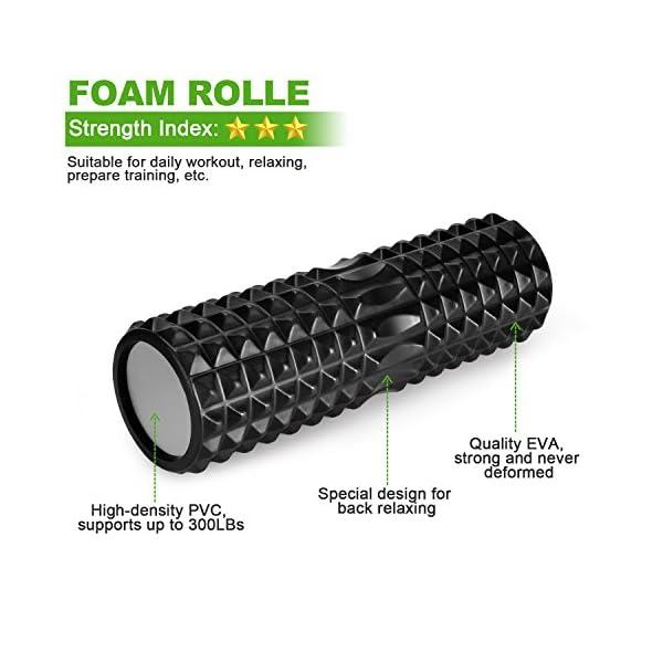 Odoland Foam Roller Kit 5-in-1, Kit di Rullo in Schiuma incl. Roller Stick, Palline per Massaggio - Kit di Rullo per… 3 spesavip