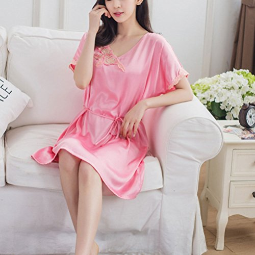 Zhhlinyuan Fashion Women's Flower Printing Chemise with Belt Nighties Satin Silky Nightwear Watermelon Red