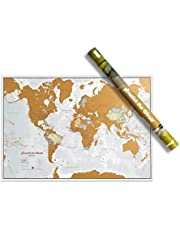 Maps International Scratch the World® Travel Map – Scratch Off World Map Poster with Gift Tube – Most Detailed Cartography - 84 x 59 cm