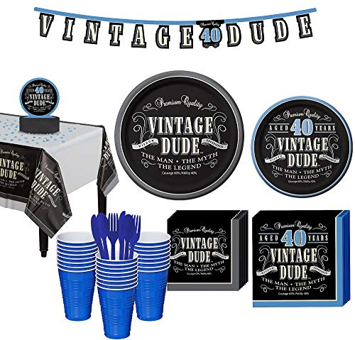 Party City Vintage Dude 40th Birthday Party Kit