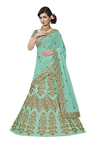 Da Facioun Indian Women Designer Wedding LT. AQUA GREEN Lehenga Choli R-16084