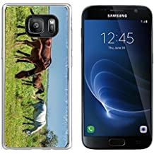 Luxlady Samsung Galaxy S7 Clear case Soft TPU Rubber Silicone IMAGE ID 30717326 Horses in the mountains equine nag hoss hack dobbin a solid hoofed plant eating domesticate