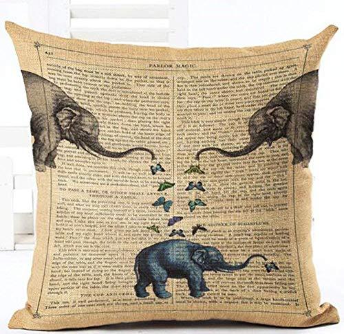 NDJHEH Retro Page Newspaper Love Animal Elephants Hot Air Balloon Cotton Linen Square Throw Waist Pillow Case Decorative Cushion Cover Pillowcase Sofa 18