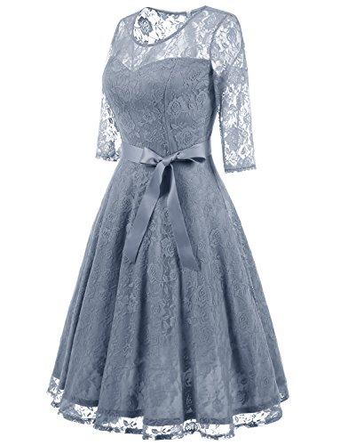 De Una 4 Elegante Grey 3 para Manga Mujer Honor Dama Verano Encaje Línea Vestido Dressystar w7AzBqx