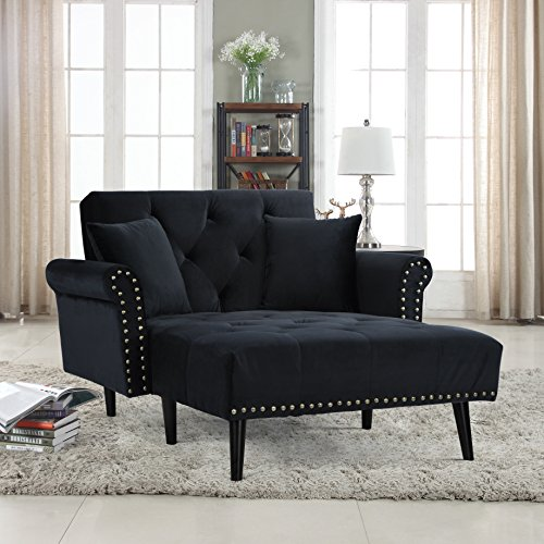 Divano Roma Furniture Modern Velvet Fabric Recliner Sleeper Chaise Lounge - Futon Sleeper Single Seater with Nailhead Trim (Black) ()