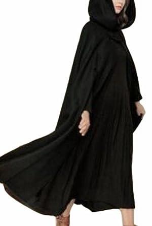 26fa6a000b9 CBTLVSN Women Full Length Hooded Cape Halloween Cloak Trench Coat Outwear  Black XS