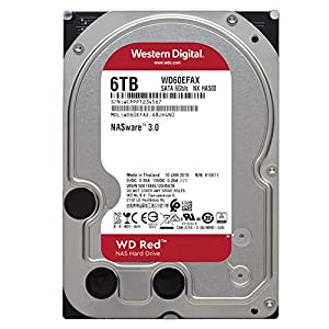 "WD Red 6TB NAS Internal Hard Drive - 5400 RPM Class, SATA 6 Gb/s, SMR, 256MB Cache, 3.5"" - WD60EFAX"