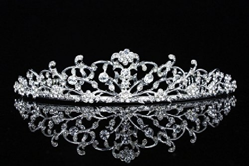 Flower Vine Design Bridal Tiara Crown - Clear Crystals Silver Plating T654