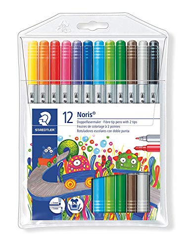 Staedtler duo tips washable markers, Dual fine & broad tip coloring pens, wallet of 12 colors
