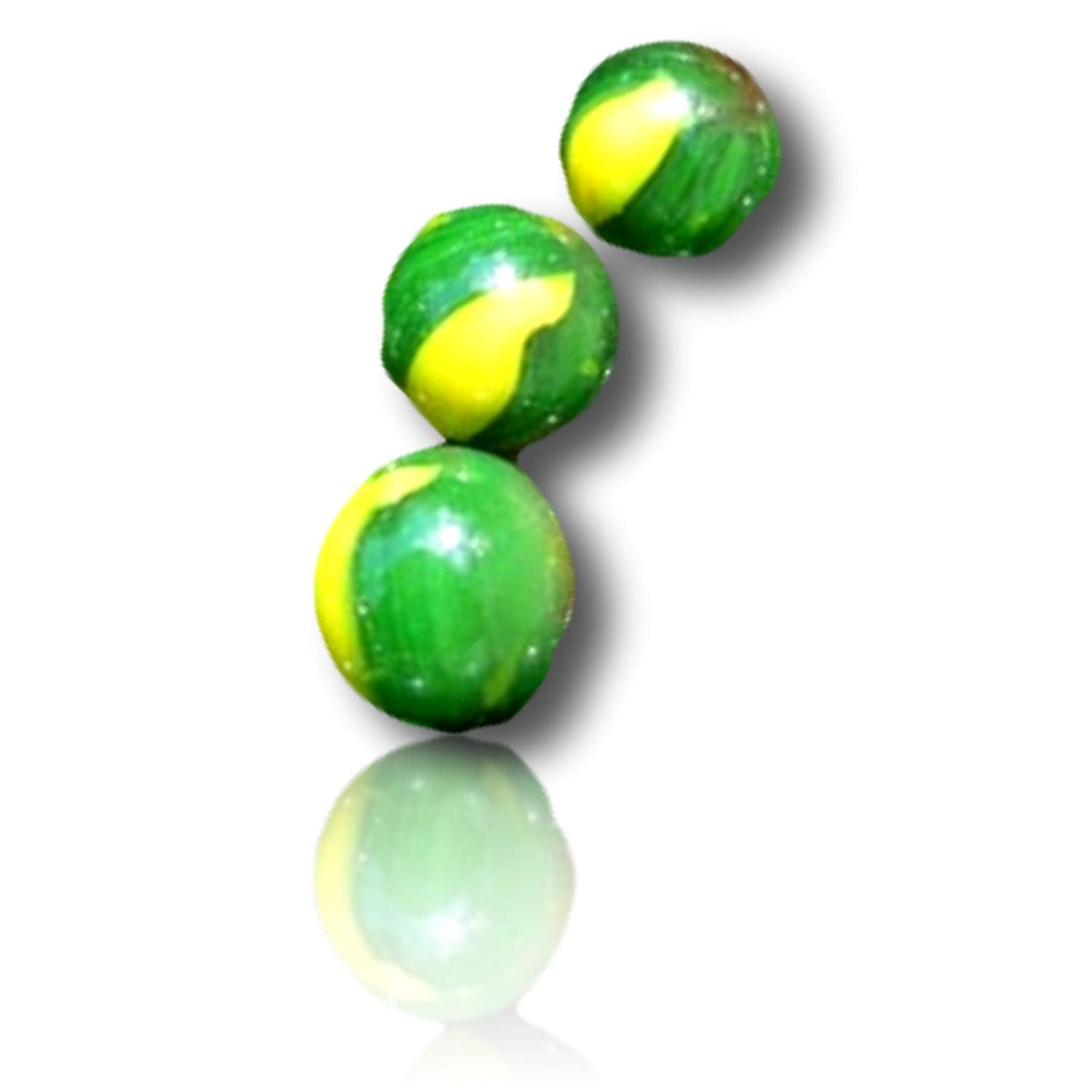 """Custom & Decorative { 1/2'' Inch} 1000 Approx 6 Pounds Small-Size """"Round"""" Glass Marbles w/Peewee Wholesale Beautiful Bright Jungle Turtle Swirls Shooter Style [Red, Yellow & Green] + Certificate"""