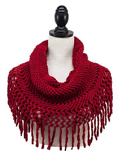 StylesILove Women Winter Knit Warm Neck Scarf with Tassel Circle Loop Round Scarf ()