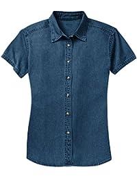 Ladies Short Sleeve Value Denim Shirts in Sizes XS-4XL