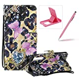 Strap Leather Case for Huawei P20 Pro,Wallet Flip Case for Huawei P20 Pro,Herzzer Bookstyle Stylish 3D Pretty Pink Butterfly Pattern Magnetic Stand PU Leather Case with Soft TPU