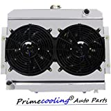 Primecooling 3 Row Aluminum Radiator + Fan (12 Inches Dia.) w/ Shroud for Jeep CJ5 CJ6 CJ7, CJ Series 1972-86, CC583FS