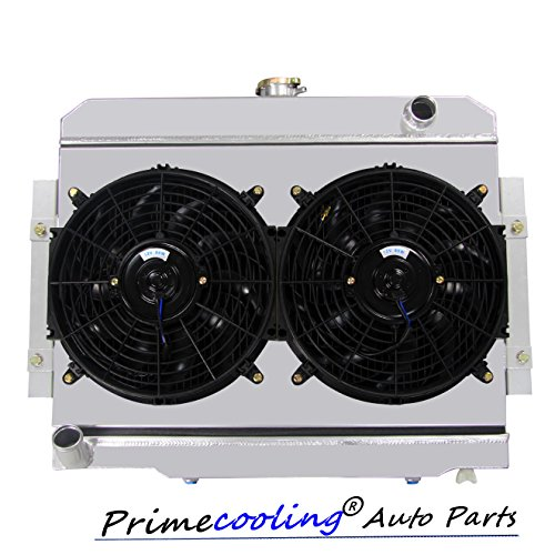 Primecooling 3 Row Aluminum Radiator + Fan (12 Inches Dia.) w/ Shroud for Jeep CJ5 CJ6 CJ7, CJ Series 1972-86, CC583FS (Shroud Aluminum)