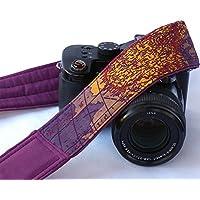 Purple World Map Camera Strap. Padded Camera Strap. Camera Neck Strap, Canon camera strap, Nikon camera strap, Mens, Womens; 030