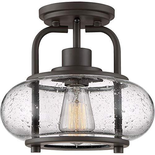 "Quoizel TRG1710OZ Trilogy Glass Lantern Semi Flush Mount Ceiling Lighting, 1-Light, 60 Watt, Old Bronze (9""H x 10""W)"