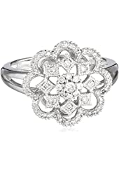 White-Gold Diamond Flower Ring (0.33cttw, G-H Color, I1-I2 Clarity), Size 7
