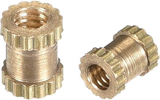 uxcell Knurled Insert Nuts 100 Pcs M4 x 6mm L x 6mm OD Female Thread Brass Embedment Assortment Kit