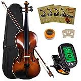 Crescent VL-NR-AW 4/4 Student Violin Starter Kit, Antique Wood Style (Includes CrescentTM Digital E-Tuner)