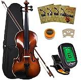 (US) Crescent VL-NR-AW 4/4 Student Violin Starter Kit, Antique Wood Style (Includes CrescentTM Digital E-Tuner)