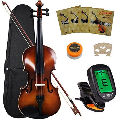 Crescent VL-NR-AW 4/4 Student Violin Starter Kit, Antique Wood Style (Includes CrescentTM Digital ()