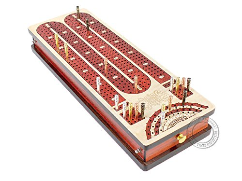 4 continuous tracks Cribbage Board / pegging board with place to mark won games