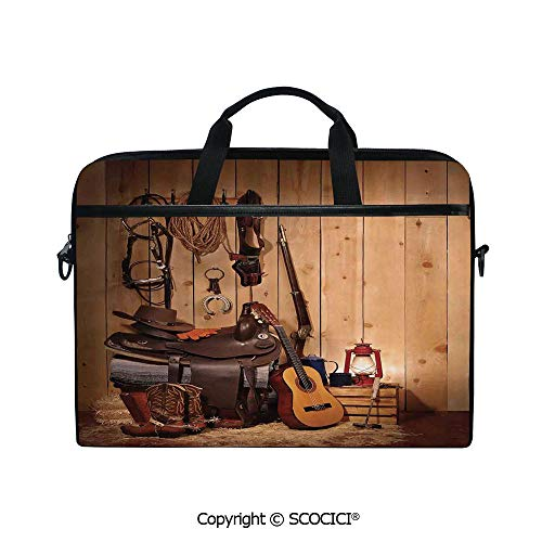 (Customized Printed Laptop Bag Notebook Handbag American Texas Style Country Music Guitar Cowboy Boots USA Folk Culture 15