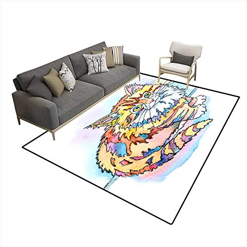 Extra Large Area Rug Cute Cheshire Kitten 6'x8' (W180cm x L240cm