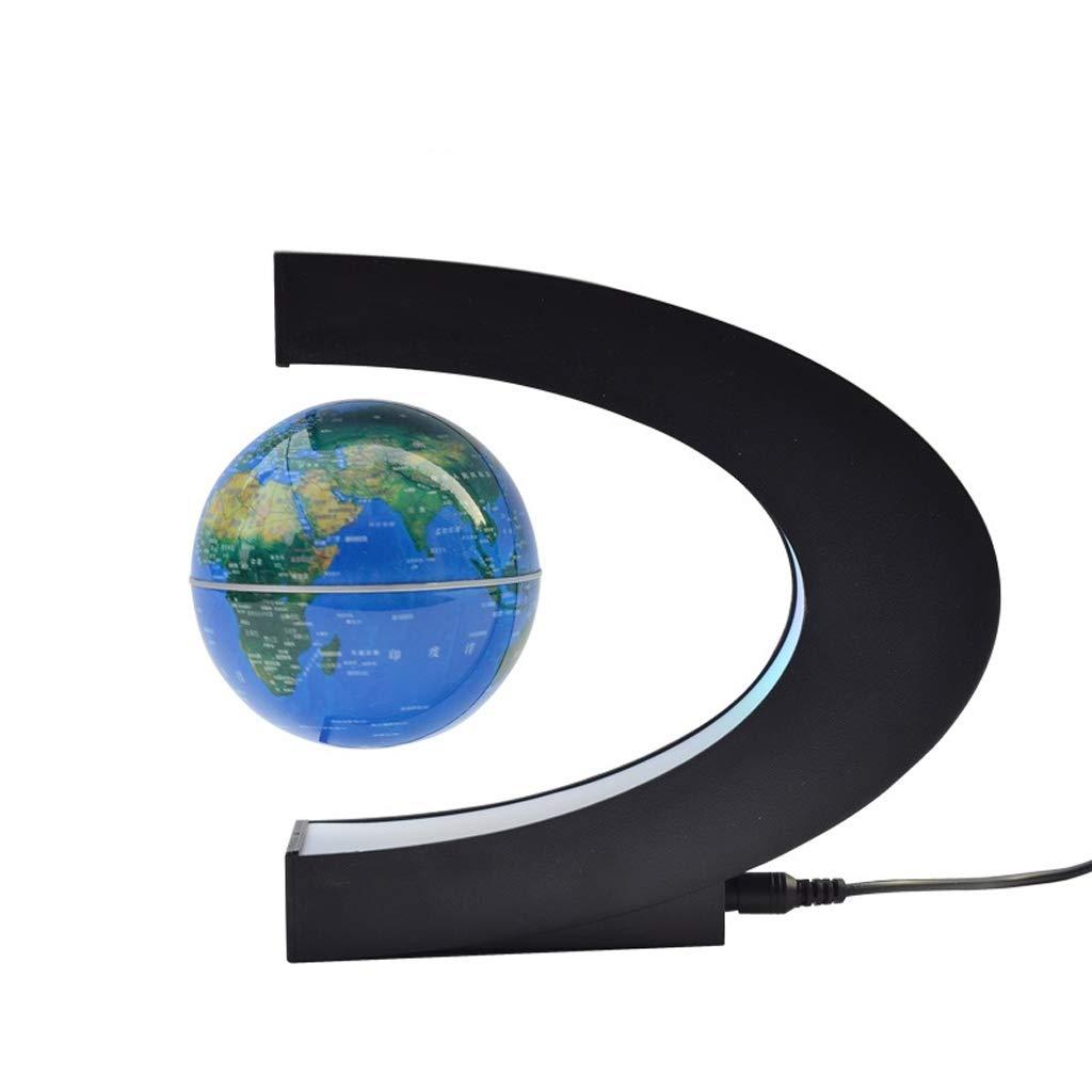 Desktop Globus HJCA Magnetic Suspension Globe Kreative Büro Dekoration C-förmig Leuchtende Kinderspielzeug Geschenk Ornamente High-Tech Produktgröße  18  17 CM Farbe  Schwarz   Blau Lernutensilien, b