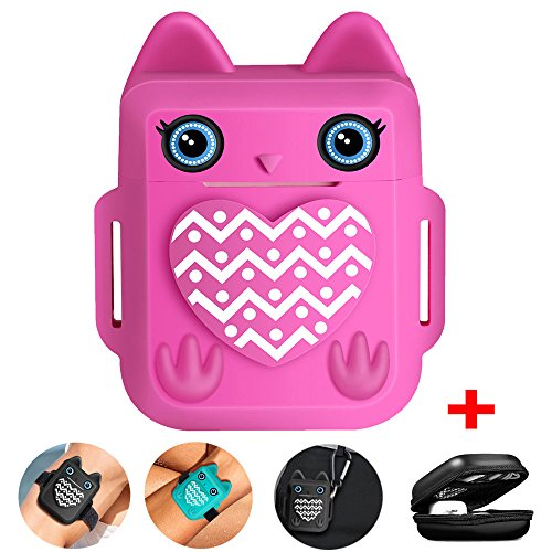 Nigaee Airpods Case Compatible for Apple Airpods Skin, Cute Owl Design Soft Silicone Airpods Accessories Shockproof Airpods Cover with Added Keychain, Hook,Organizer Case, Velcro Straps [Pink]