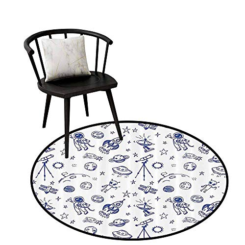 Decorative Round Rug Apartment Decor Collection Easy to Care Original Outer Space Featured Celestial Planetary Solar System Properties UFO Graphic Blue White D16(40cm) - Original Karastan Collection Runner