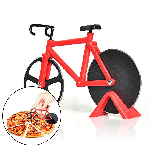 - 7-Almond Pizza Cutter,Bicycle Pizza Cutters,Dual Stainless Steel Bike Cutter Wheels Display Stand,Kitchen Utensils Pizza Baking Bar Tools(Red)